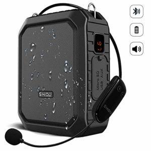 SHIDU Amplificateur de voix sans fil Bluetooth professeur Microphone 18W Étanche Portable Amplificateur de voix Casque Mic Rechargeable Voice Enhancer Microphone personnel pour salle de classe