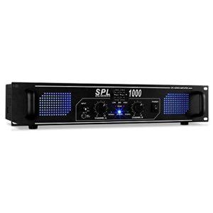 Skytec SPL1000 Ampli DJ PA Sono Pro avec Equalizer 3 Bandes pour scène, Monitoring ou Studio (2800W en crête au Total, 2 Canaux,Rackable 48cm, AUX) Noir