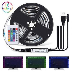Sunnest Ruban LED 2M – [4 Pack*0.5m]LED Bande 60 LEDs 5050 RGB LED Light Strip Flexible Multicolore Décoration avec Télécommande+Câble USB