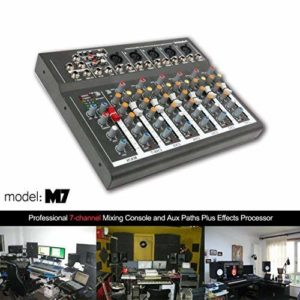 Table de mixage 4/7 canaux professionnelle Mixage de puissance Mixage en direct en studio Audio Sound Console de mixage DJ-Mixer avec port USB (7 canaux)