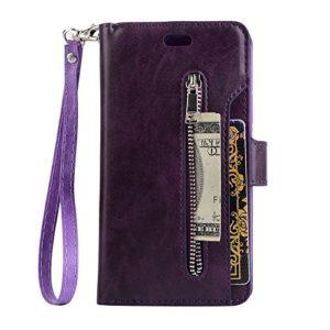 TechCode en Similicuir rétro Vintage avec Support Smart Wallet emplacements pour Cartes de crédit Purse Billfold Pochette magnétique téléphone Housse de Protection