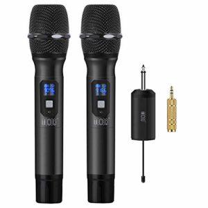 TONOR Microphone sans Fil 25 Canaux UHF, avec Mini Récepteur Portable Sortie 1/4″, pour Réunion d'Affaire/Maison/Karaoké/Église, Noir (2pcs-Noir)