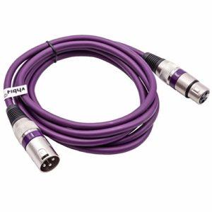 vhbw Câble lumière DMX, 2m, prise XLR mâle et femelle, 3 broches, câble PVC, lilas compatible avec éclairage scénique, projecteurs