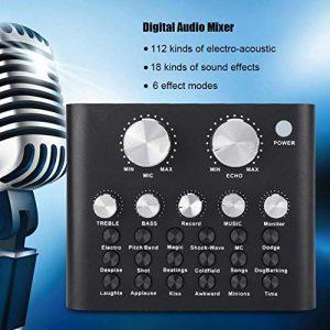 Wendry Carte Son Audio numérique, réglage de la Taille de la réverbération, Apparence Haut de Gamme, Carte Son Audio numérique Black Metal Shell V8 pour Ordinateur de téléphone