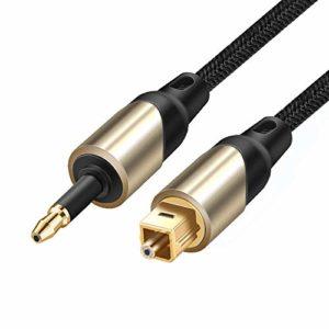 XiaoMall CE-LINK Câble audio en fibre optique optique mâle vers rond 3,5 mm pour PS3/4