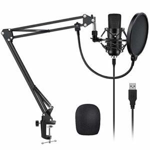 YOTTO Microphone à Condensateur Microphone USB Enregistrement pour Ordinateur de Bureau et Ordinateur Portable MAC Windows Microphone Cardioïde Avec Microphone Réglable Suspension Perche Ciseaux Bras
