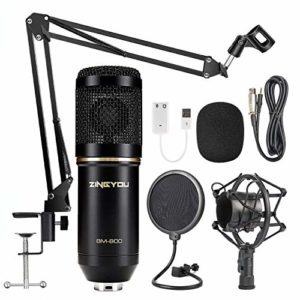 ZINGYOU Microphone à Condensateur Kit, BM-800 Micro Studio Streaming Professionnel avec Suspension Bras pour PC,Gamer,Youtubeur(Noir