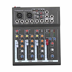 Acutty Mini Audio Mixer with USB DJ Sound Mixing Console 4 Channel 48V Amplifier for Karaoke KTV Party