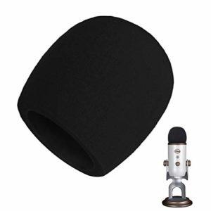 AOBETAK Mousse Micro Anti Bruit,Bonnette Filtre Micro Anti Vent Pop pour Microphone à Condensateur Blue Yeti,Yeti Pro,Noir