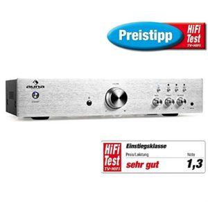 auna AV2-CD508 – Amplificateur Audio HiFi , Home-cinéma , Chaîne stéréo , Amplificateur stéréo , 600 Watt de Puissance maximale , Égaliseur à 2 Bandes , Aux-in , 3 entrées stéréo-RCA-Line , Argent