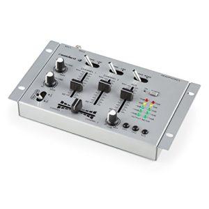 AUNA TWX-2211 Table de mixage compacte Portable 2 Pistes pour DJ débutants avec crossfader (avec Prise Casque, entrée Micro intégrée, Fader Volume, CD) – Gris