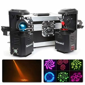 Beamz Lot de 2 Scanners LED avec Flightcase – LED 12 Watts, DMX 1 ou 8 canaux et mode autonome, 7 couleurs et 7 gobos, Fonction maitre / esclave, Panneau de commande avec affichage LED