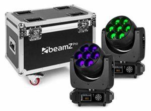 BeamZ MHL740 Lyre LED Zoom – 7 x LED RGBW avec Flightcase, Kit de 2 Lyres 40 Watts, Eclairage Disco, DJ Light Effect, LEDs 4 en 1 Ultra Lumineuses, Modes DMX, fonctionnalité maitre/esclave