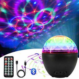 Boule Disco Led Lampe de Scène Projecteur Lumière Discothèque Boule avec Télécommande Bluetooth Intégré 4 Modes Musicales 16 Couleurs Éclairage Effects pour Halloween Noël Bar Club DJ