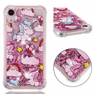 Broxny Coque pour iPhone Xr, Glitter Liquide iPhone Xr Silicone Coque Paillette Protection TPU Bumper Transparent Housse Antichoc Souple Étui Case Cover, hippocampe
