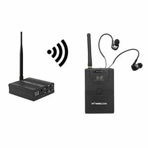 Docooler Système in-Ear de Monitoring, Système de contrôle Audio de scène Intra-auriculaire Système de contrôle de réseau sans Fil numérique Professionnel 2,4 GHz (1 émetteur 1 récepteur)