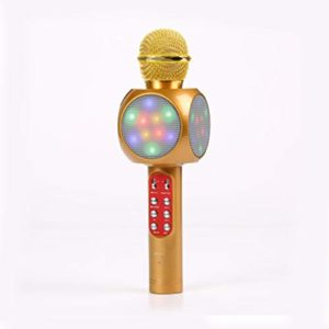GJWHENS Parleur sans Fil Bluetooth Microphone Song K Subwoofer Bluetooth Speakerphone Surround Sound System Home Cinéma Haut-Parleur Cadeaux,d'or