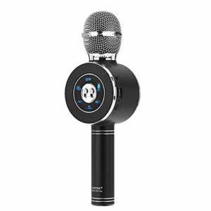 GJWHENS sans Fil Bluetooth Karaoke Microphone avec lumières LED, Haut-Parleur portatif Mic Machine pour l'extérieur/Anniversaire/Accueil/Party,Noir