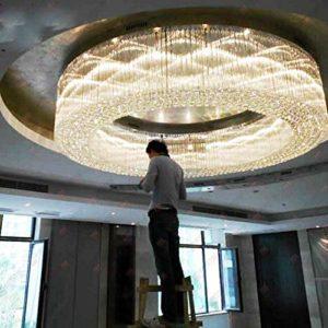 Hall de l'hôtel de luxe cristal plafonnier lampe grand projet d'hôtel rond en cristal luminaire led lampes maison plafond led L100 X H40CM blanc chaud
