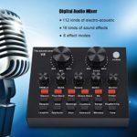 Kafuty Carte Son Externe V8, Mixeur Audio Multifonctions Micro-Casque Externe USB Carte Son Mobile avec 112 Effets Sonores électroacoustiques 18 6 Modes d'effet, pour L'enregistrement en Direct