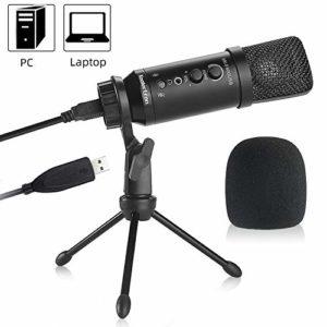 Koolertron Microphone USB Microphone à Condensateur Micro PC Métallique avec Câble USB,Support de Trépied, Sortie Casque Séparée pour Broadcast Voix Enregistrement Studio Chant Youtube Skype Jeux PC