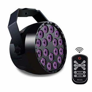 Les lumières noires UV, le stade UV de Konesky LED allume 7 modes La lumière de partie de disco 18 x 3W LED ébrèche le son de projecteur de DMX 512 DJ activé avec la télécommande infrarouge