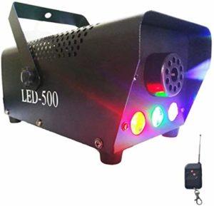 Machine à fumée, machine à fumée, 3 lumières à effet LED, avec protection fusible, pour Noël, mariages, fêtes, DJ Performance, Stage Show