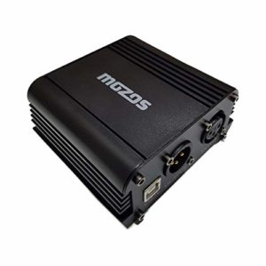 Mozos M48P Alimentation Phantom USB avec alimentation 48 V pour microphone à condensateur XLR USB 5 V