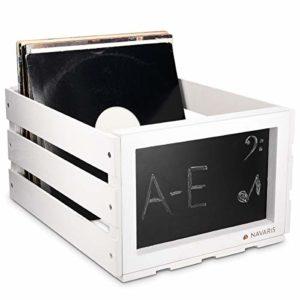 Navaris Boîte de Rangement Vinyle – Range Vinyle en Bois – Bac pour Disque Vinyle – 66 Disques – 43 x 34 x 23 cm – Bac Design Rétro avec Ardoise