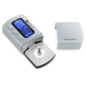Neoteck – Testeur digital de 0,01g pour bras de platine phono – Rétro-éclairage LCD Argenté
