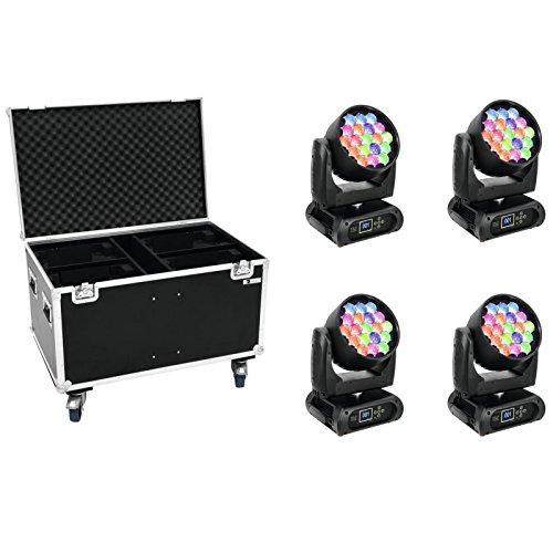 Set 4x EYE-19 RGBW Zoom + Case