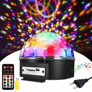 SOLMORE Lampe de Scène18W 220V RGB LED 9 Couleurs Commande Sonore avec Télécommande Enceinte Haut-Parleur Lecture de Musique Jeux de Lumière Disco Light Spot Projecteur Effet DJ Éclairage