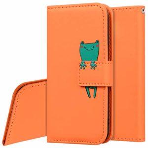 Surakey Etui Coque pour Huawei P20 Lite,Protection Housse Etui à Rabat en Cuir PU Portefeuille Livre,Dessin Animé Animaux Flip Case Cover Fermeture Magnétique avec Fonction Stand,Orange