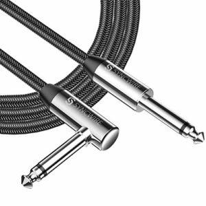 Syncwire Câble Guitare 6m – Nylon tressé 6,35 mm (1/4″) Droit à Angle Droit Câbles à Instruments pour Guitare électrique, Guitare Basse, Mandoline électrique, Audio Professionnel – Noir