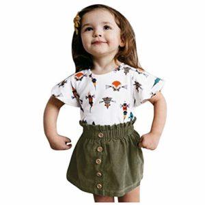 Tenues pour bébés Filles été Nouveau-nés baptême PAOLIAN Filles T-Shirts bébés Manches Courtes et Jupe Courte Filles vêtements bébés Habiller Les Parties décontractées 6 Mois-3 Ans
