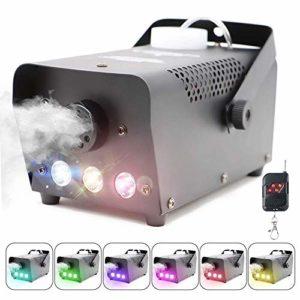 TYZXR Machine à Brouillard avec lumières Télécommande sans Fil, Machine à fumée avec 7 Couleurs pour Effet de fête sur scène, événement spécial Mariage Halloween et Plus