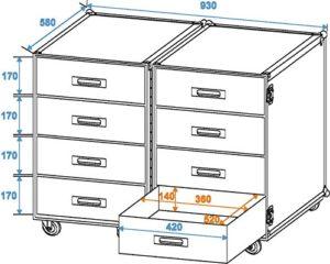 Universal-Roadie-Case Double Drawer DD-2
