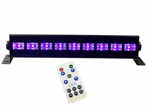 UV Lumière Noire, Latta Alvor Lampe de Scène UV LED Bar Lumières disco pour les fêtes DMX512 DJ Lumières stroboscopiques avec Télécommande UV Lumière Lampe de Scène uv black light (9 led 25W)