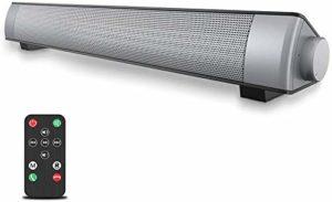 VersionTECH. Barre de Son Bluetooth sans Fil Portable, Haut-Parleur Enceinte Bluetooth de Bass Son Puissant Rechargeable pour TV PC Téléphone Intelligent – Argent