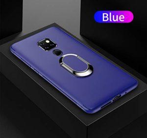 Yobby Coque pour Huawei Mate 20 Mat Bleu,Huawei Mate 20 Étui 360 Rotation Bague Doigt Anneau Porte Kickstand [Magnétique Support Voiture] Ultra Mince Souple Silicone Antichoc Housse de Protection