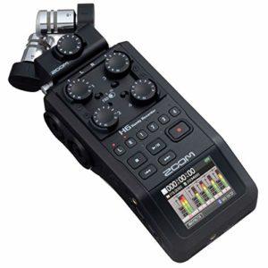 Zoom H6-BLK/IFS – Enregistreur 6 pistes portable à microphones interchangeables – 1x microphone XY, 1x microphone Mid-side et 4x entrées XLR