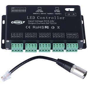 12 canaux DMX 512 RGB LED bande contrôleur dmx décodeur variateur pilote DC5V-24V 5A / CH