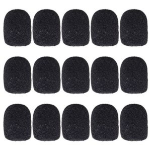 15 Pcs Microphone Bonnettes, Borte Lapel Casque Mousse Microphone Couvre, Noir