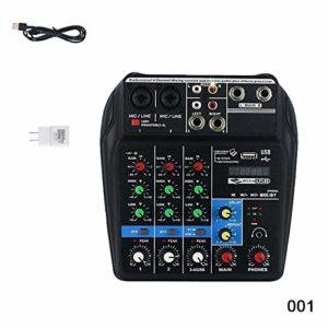 Aemiy Mini USB Amplificateur de mixage Audio Amplificateur Bluetooth Conseil 48V Alimentation fantôme 4 canaux pour DJ Karaoké