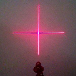 Ajustée 12x45mm Croix Laser Module 200mW 650nm Rouge Diode Laser / AC + Titulaire + Adaptateur
