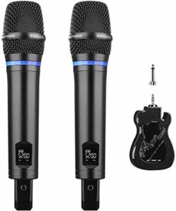 ARCHEER Micro sans Fil Rechargeable 2 Microphone Karaoké Rechargeable Ensemble de Microphone Dynamique Professionel Portable UHF avec Récepteur Bluetooth pour Barre de Son/Haut-Parleur etc