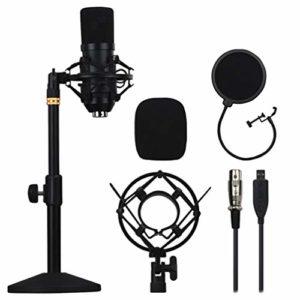 Artibetter Kit de Microphone à Condensateur USB PC Ordinateur Podcast Streaming Micro Cardioïde pour L'enregistrement Sonore de Jeux sur Ordinateur