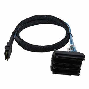 Asiproper SFF-8087 Câble interne Mini SAS 36 broches vers 4 SAS 29 broches SFF-8482 avec connecteur d'alimentation SATA 15 broches 0.5M