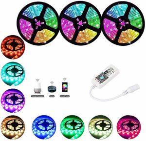 Bande de lumière LED étanche 5M10M 15M / Pack 5050 SMD Bande de lumière LED DC 12V 30LEDs / M Ruban décoratif d'intérieur avec télécommande IR + adaptateur-RGB_15M