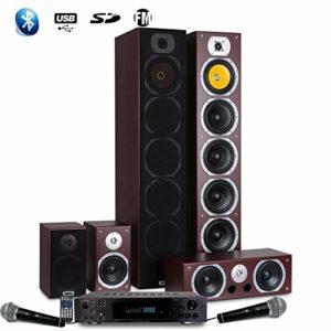 Beng Ensemble Home-cinéma HiFi Karaoké V9B Acajou Home Sound 1240W + ampli 360W + 25M de câble de Liaison + 2 micros
